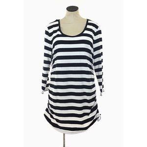 Michael Kors Tunic Shirt Dress Black White Striped